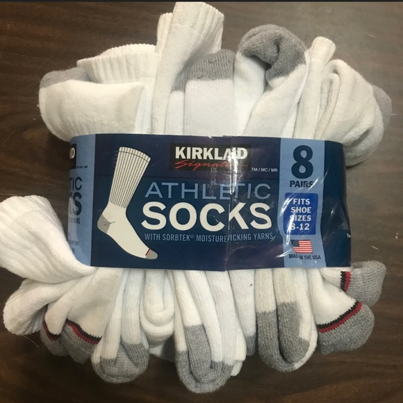 Kirkland Signature Men/'s Athletic Sock 8-pair White White, 13+